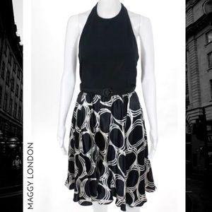 MAGGY LONDON Blk/Wht Silk Polka Dot Halter Dress